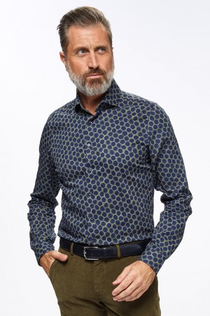 Roy Robson (Hemd bollenprint, Slim fit, Spreadkraag)